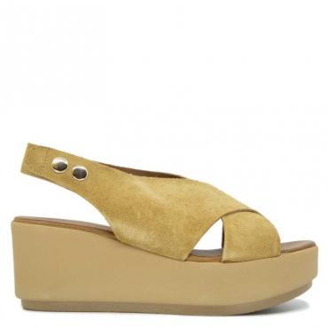 Sandalo in cuoio scamosciato con zeppa SDSCISSORS