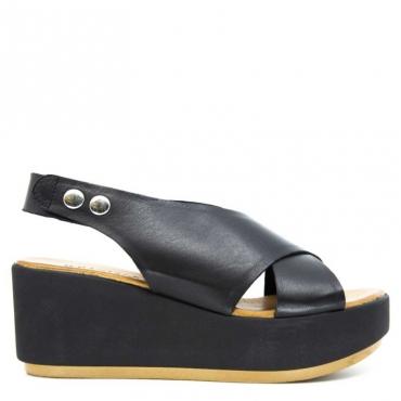 Sandalo open-toe con fascia e zeppa NERO