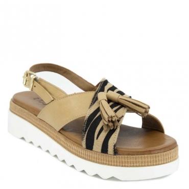 Sandalo con fascia animalier e nappine SCISSORS