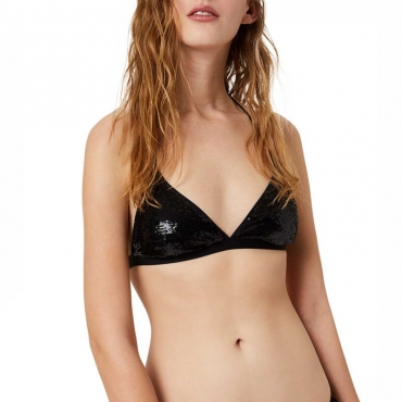 Top a triangolo senza ferretto con paillettes 22222NERO B