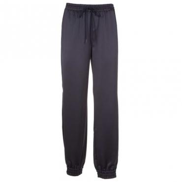 Pantalone blu in raso con spacchi BLUEBERRY JELLY