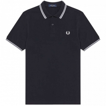 Polo in piqu di cotone slim fit 238NAVY/WHIT