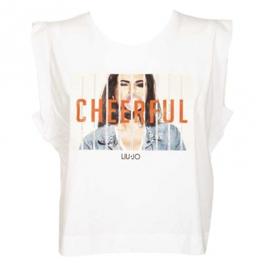 T-shirt con stampa e strass 11111BIANCOO