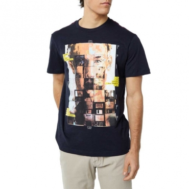 T-shirt con stampa viso su floppy disk 0194NAVYBLUE