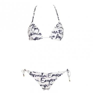 Bikini bianco con multi logo blu 63210