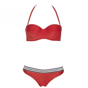 Bikini Push-up con lurex dorato e logo 00174