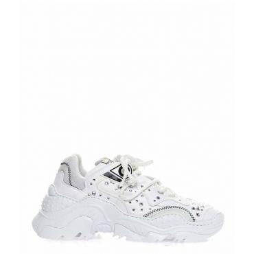 Sneaker con dettagli glitterati bianco