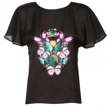 T-shirt bimaterica con stampa e strass U9813SCRABBL