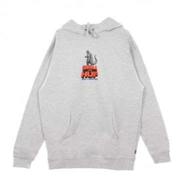 FELPA CAPPUCCIO HUF VS GODZILLA HOODIE GREY HEATHER