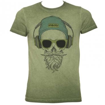 T-shirt con stampa teschio e cuffie 1T4805ARMY