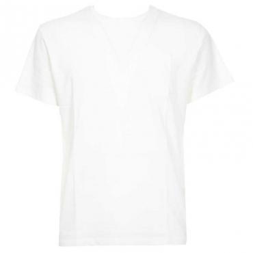 T-shirt in cotone organico con taschino 01OFFWHITE