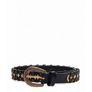 Cintura con occhielli in metallo nero