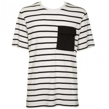 T-shirt a righe con taschino 1000BIANCO