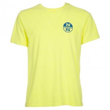 T-Shirt in cotone con logo tondo 0554YELLOWFL