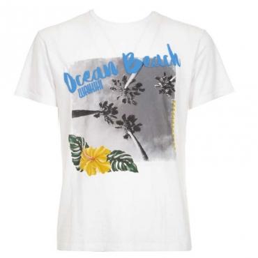 T-shirt in misto lino con stampa 00OPTICWHITE
