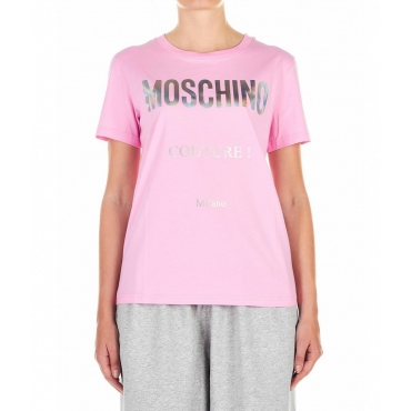T-Shirt con scritta logo pink