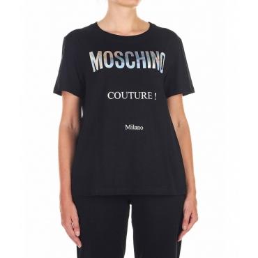 T-Shirt con scritta logo nero