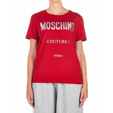 T-Shirt con scritta logo rosso