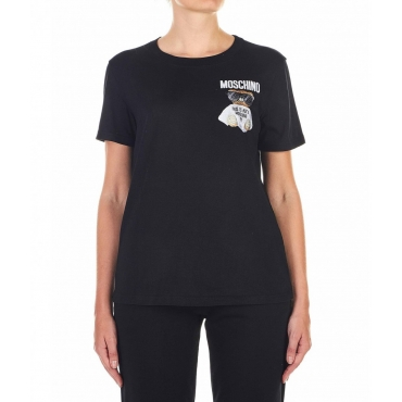 T-Shirt con patch orsacchiotto nero