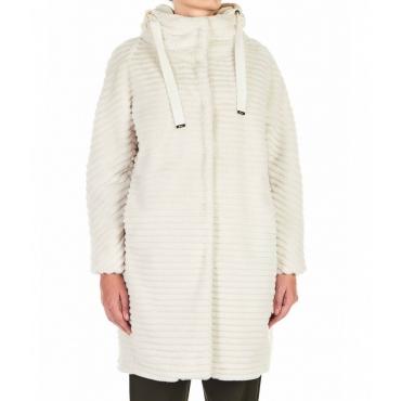 Cappotto in Eco-pelliccia crema
