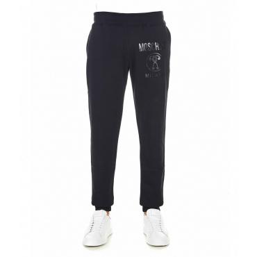 Pantalone jogging con stampa logo nero