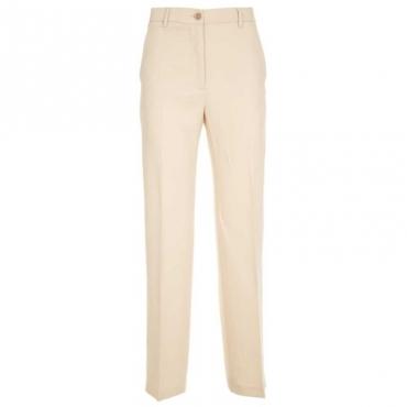 Pantaloni a palazzo in viscosa stretch 014BEIGE