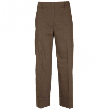 Pantaloni ampi in lino 240MARRONE