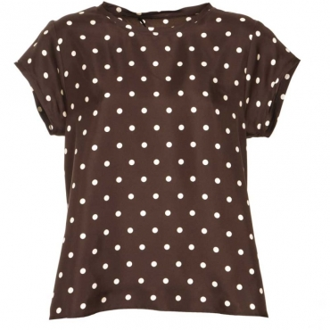 T-shirt in seta marrone con pois bianchi 231MARRONE