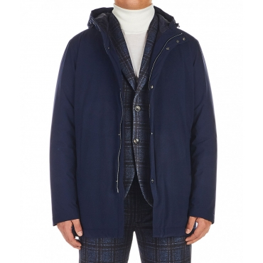 Packable travel jacket blu scuro