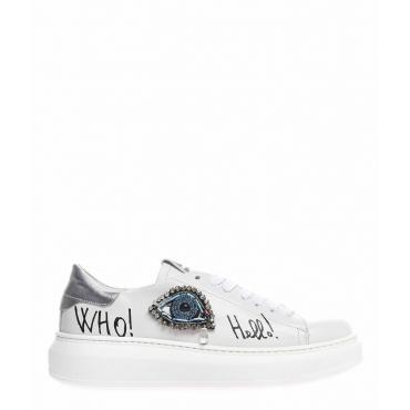 Sneaker con applicazione strass bianco