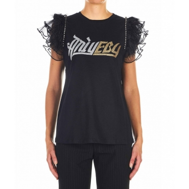 Study T-Shirt con logo nero