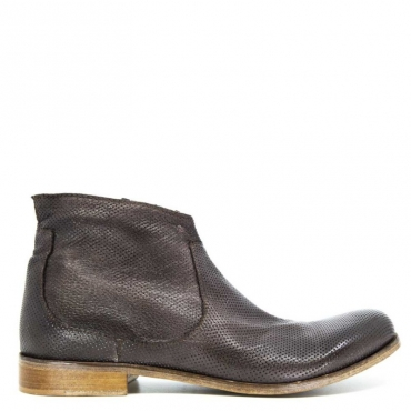 Stivaletto marrone in cuoio traforato con zip BRONZE
