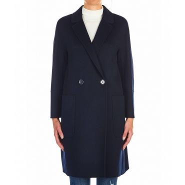 Cappotto Audrey in lana vergine blu scuro