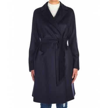 Cappotto Luana in lana vergine blu scuro
