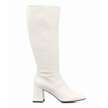 Stivali in pelle liscia bianco