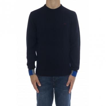 Maglia uomo - K40130 maglia bordino polso 07 - Navy