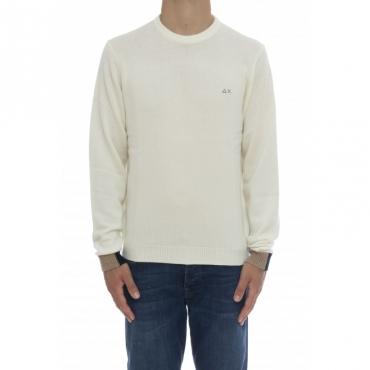 Maglia uomo - K40130 maglia bordino polso 31 - Bianco panna