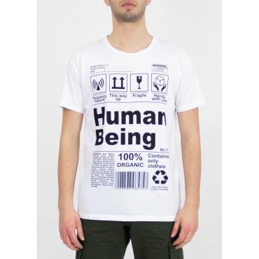 TSHIRT BL11 art HUMAN BIANCO