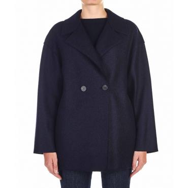 Cappotto in lana vergine blu scuro