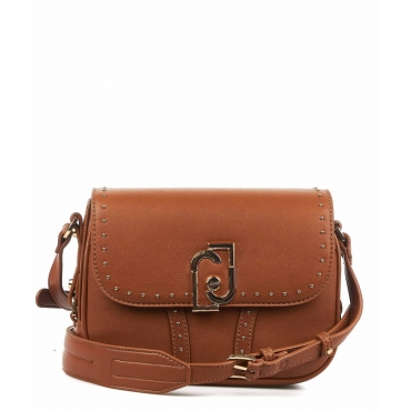 Borsa a tracolla con dettaglio borchie marrone chiaro