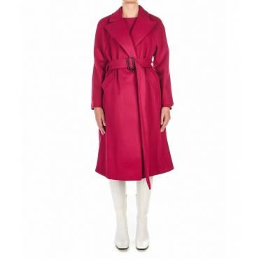 Cappotto con cintura in vita pink
