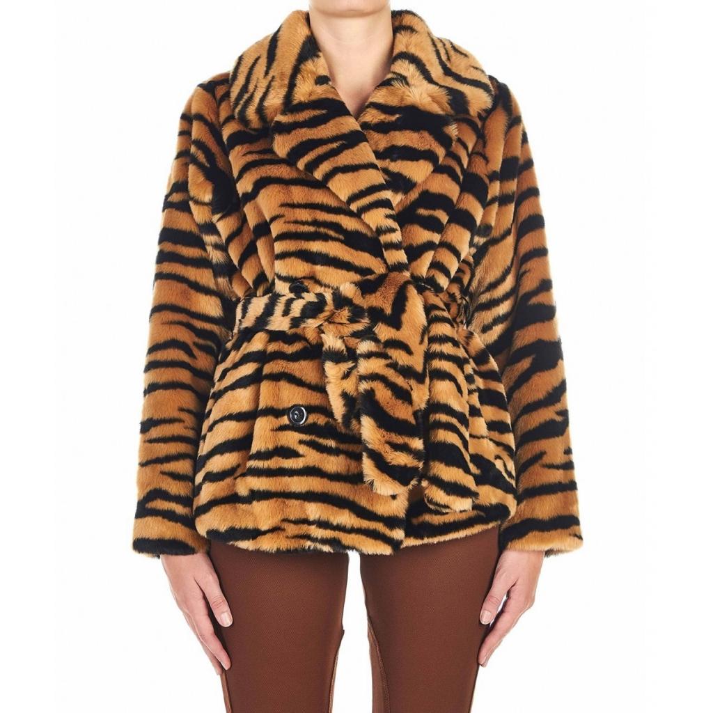 Giacca in eco pelliccia Tiffany marrone
