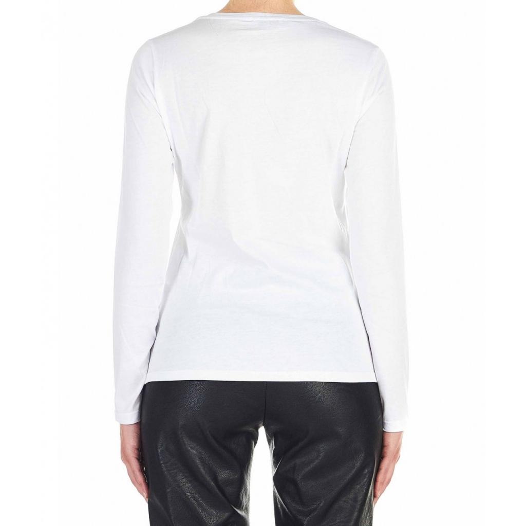 Maglietta con applicazione strass bianco