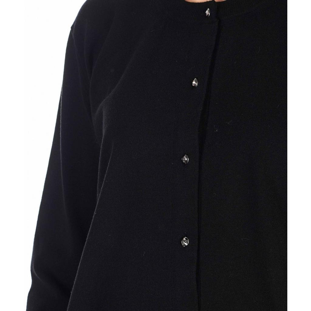 Cardigan con chiusura con bottoni in strass nero