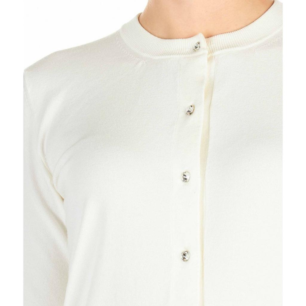 Cardigan con chiusura con bottoni in strass bianco