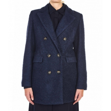 Cappotto in Boucl blu scuro