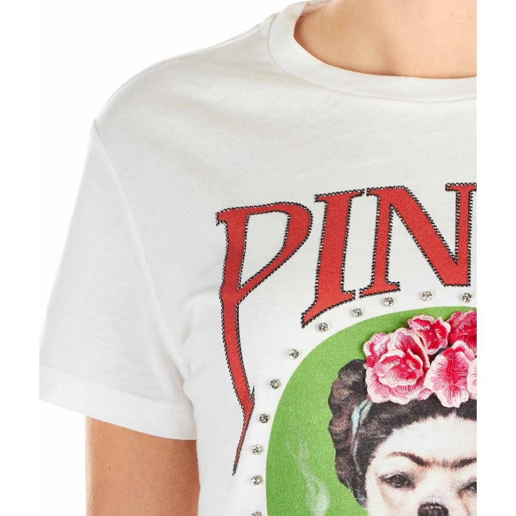 Maglietta con applicazione di strass e ricamo bianco