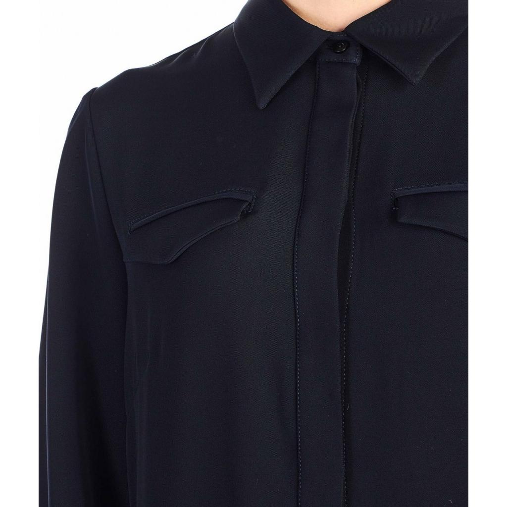 Abito camicia con ricamo blu