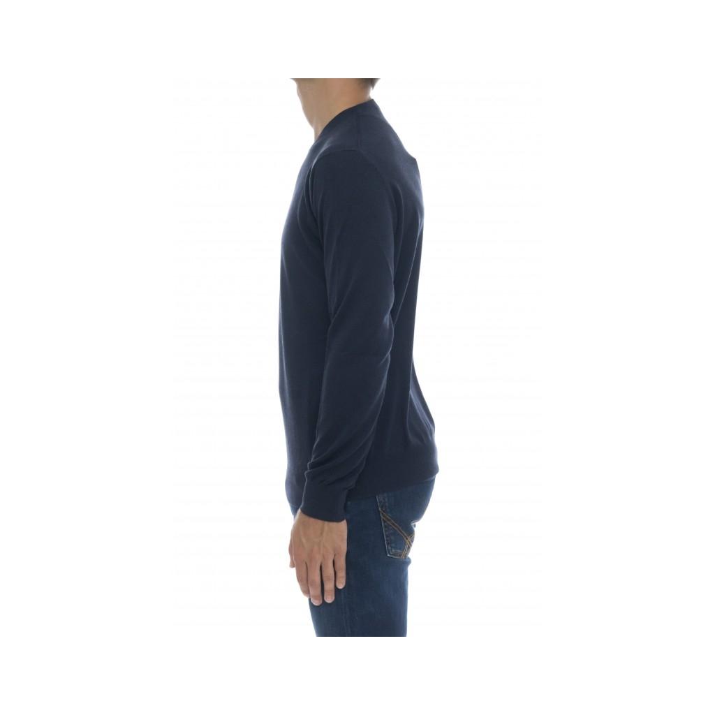 Maglia uomo - 1004/01 85 seta  15 cashmere 11 - blu