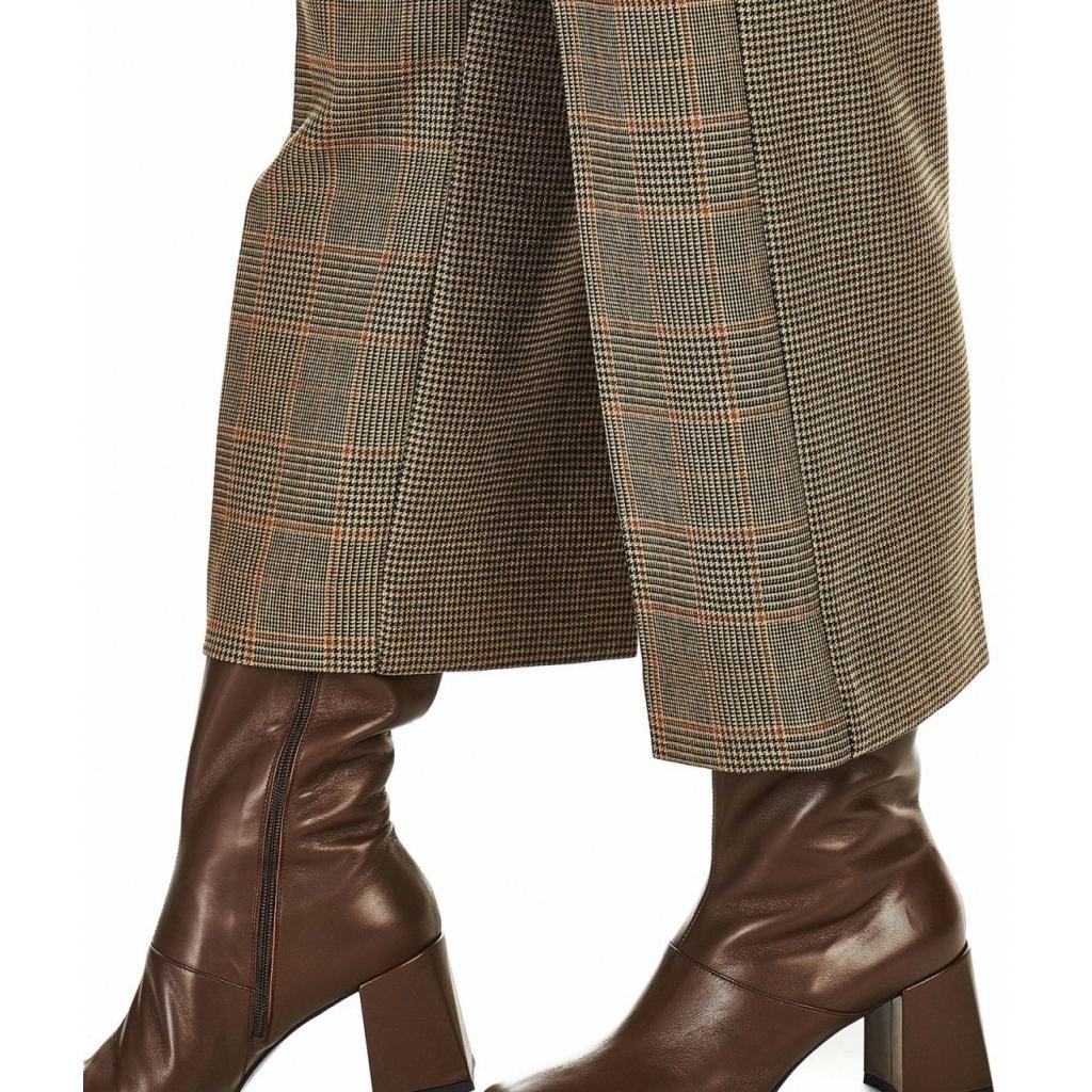 Pantaloni a quadri marrone